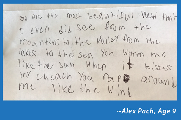 alex poem about the view from the Vista